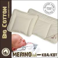 Merino Kinder Flachkissen mit kbA Baumwoll Bezug und Füllung kbT Wolle