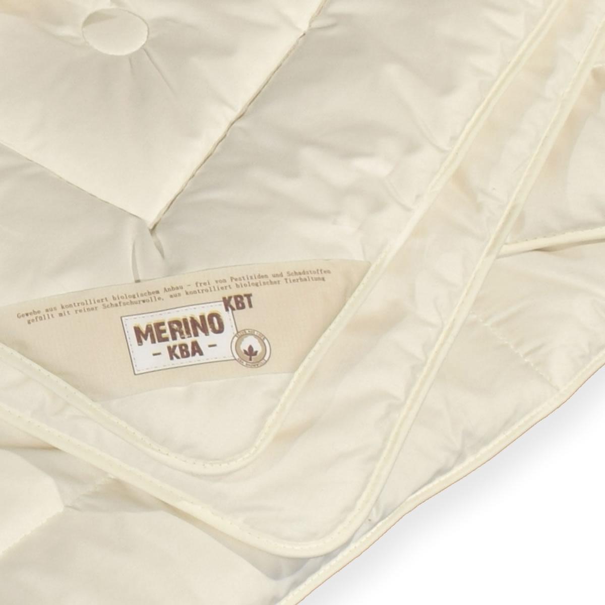 Merino Schurwolle KBT Natur Bettdecke 155x220 cm extra leicht ohne Schadstoffe