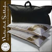 2x Luxus 3 Kammer Kissen in 40x80 cm Kopfkissen mit Satin-Biese
