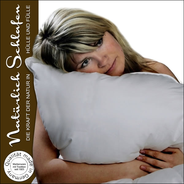 kopfkissen mit 50 daunen und 50 federn mit biese 80x80 cm kissen daunenkissen ebay. Black Bedroom Furniture Sets. Home Design Ideas