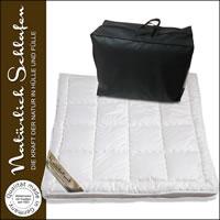 Merino Schafschurwolle Unterbett mit Baumwollbezug 4-seitigem Eckgummi