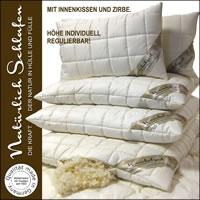 Merino Schafschurwoll Kissen mit Schafschurwollkugeln und Zirbe-Spänen