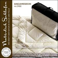 Merino Schaf-Schurwoll Ganzjahresdecke mit Zirbe Spänen versch. Größen