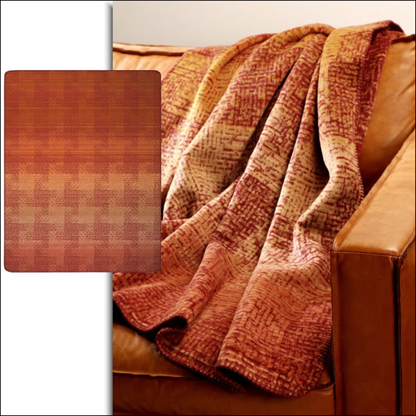 Biederlack uni Wolldecke Kuscheldecke Wohndecke 150 x 200 cm Duo Cotton terra