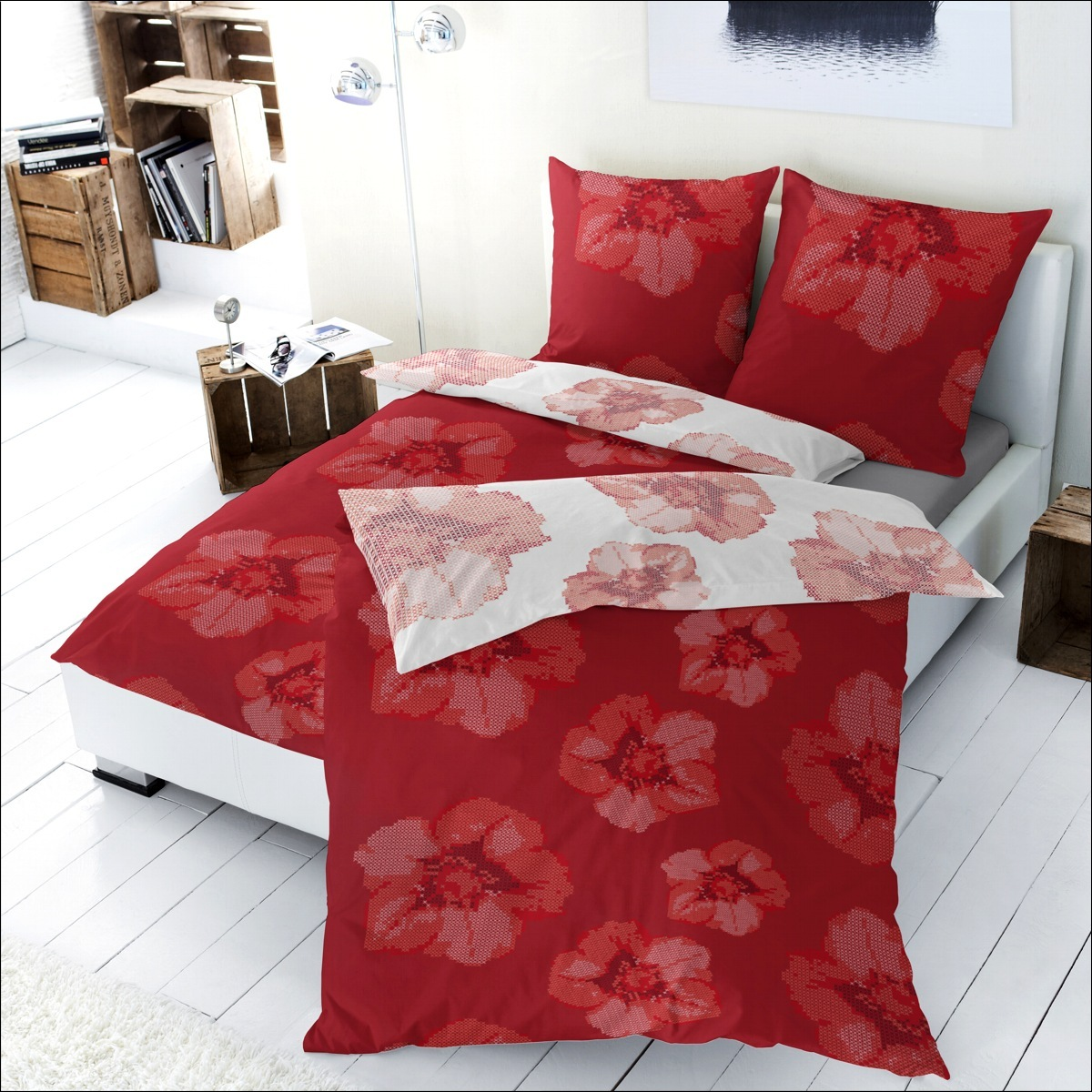 hahn renforce bettw sche 200x200 cm 125007 022 wendebettw sche wei rot blumen ebay. Black Bedroom Furniture Sets. Home Design Ideas