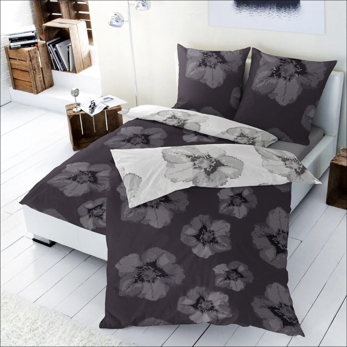 hahn renforce bettw sche 200x200 cm 125007 088 wendebettw sche wei grau blumen ebay. Black Bedroom Furniture Sets. Home Design Ideas