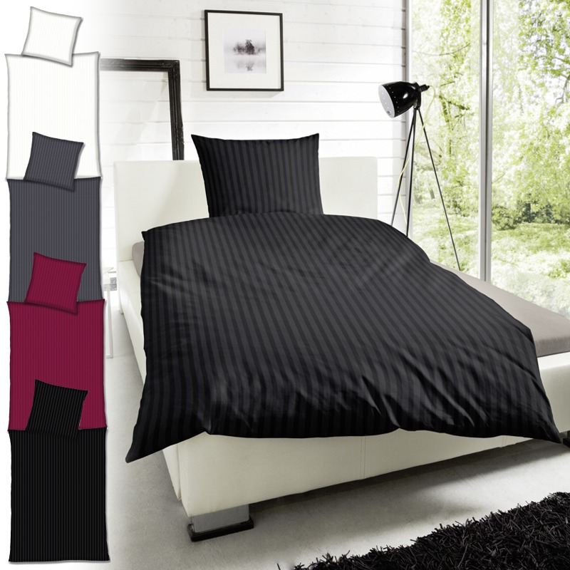 hahn streifen mako satin bettw sche 200x200 schwarz. Black Bedroom Furniture Sets. Home Design Ideas