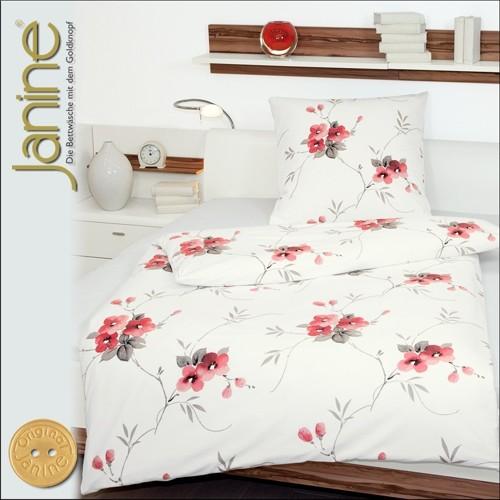 janine mako satin bettw sche 135x200 palermo dessin 3985 01 wei blumen in rot. Black Bedroom Furniture Sets. Home Design Ideas