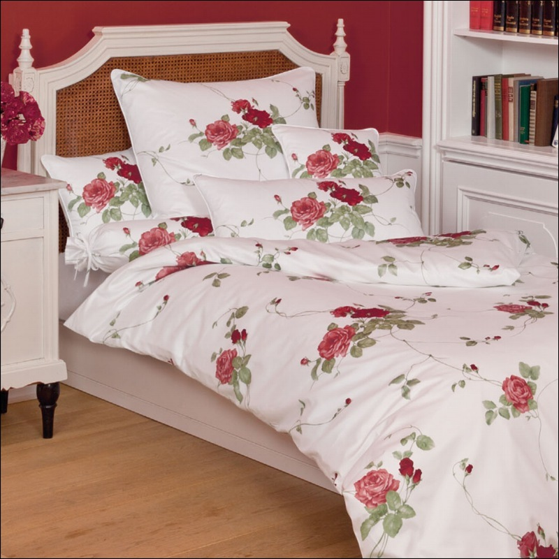 janine mako satin kissenbezug oder bettw sche romantico 4684 01 rot wei rosen ebay. Black Bedroom Furniture Sets. Home Design Ideas