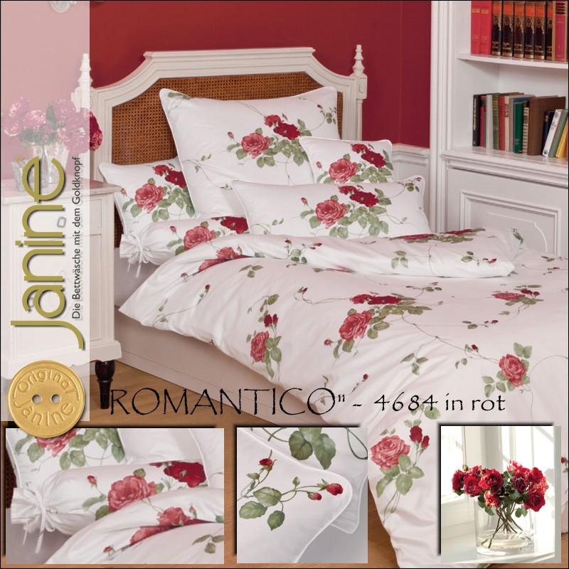 Details Zu Janine Mako Satin Kissenbezug Oder Bettwäsche Romantico 4684 01 Rot Weiß Rosen