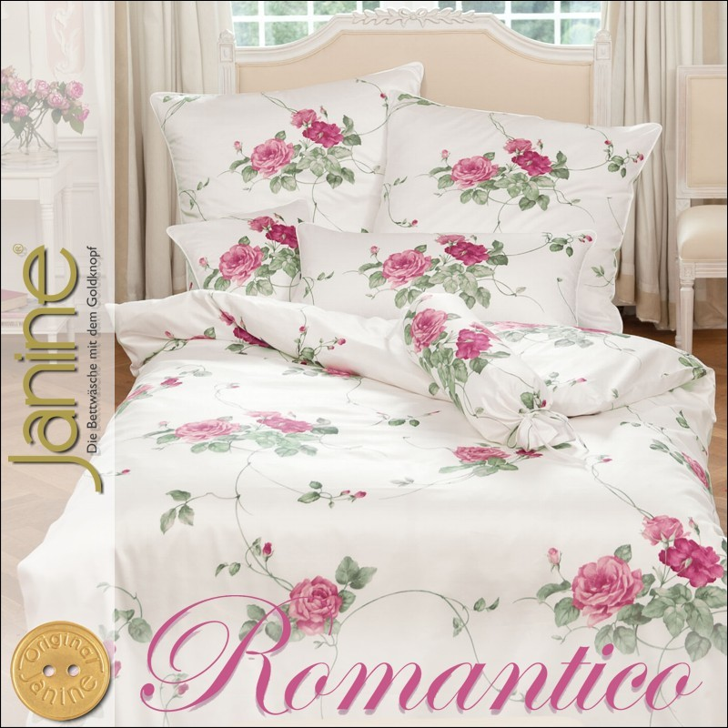 janine mako satin kissenbezug oder bettw sche romantico 4684 05 rosa wei rose ebay. Black Bedroom Furniture Sets. Home Design Ideas