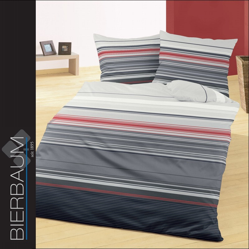 bierbaum renforc bettw sche 200x220 cm dessin 4391 24 gestreift grau rot ecru ebay. Black Bedroom Furniture Sets. Home Design Ideas