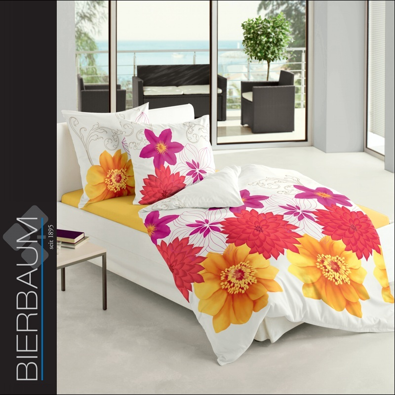 bierbaum mako satin bettw sche 200x200 cm dessin 60891 natur rot gelb ebay. Black Bedroom Furniture Sets. Home Design Ideas