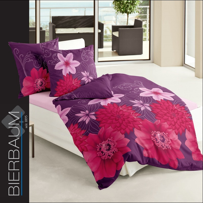 2 tlg bierbaum biber bettw sche set 155x220 cm dessin 6089 04 blumen lila ebay. Black Bedroom Furniture Sets. Home Design Ideas