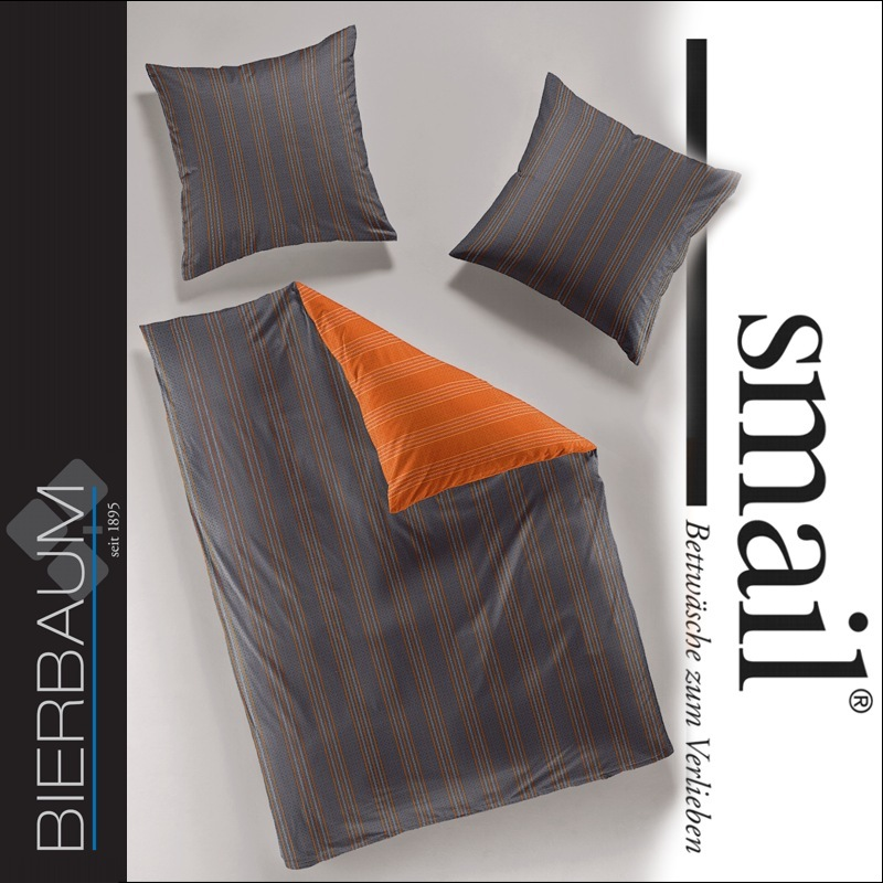 bierbaum smail mako satin bettw sche 200x200 wendebettw sche 637031 grau orange ebay. Black Bedroom Furniture Sets. Home Design Ideas