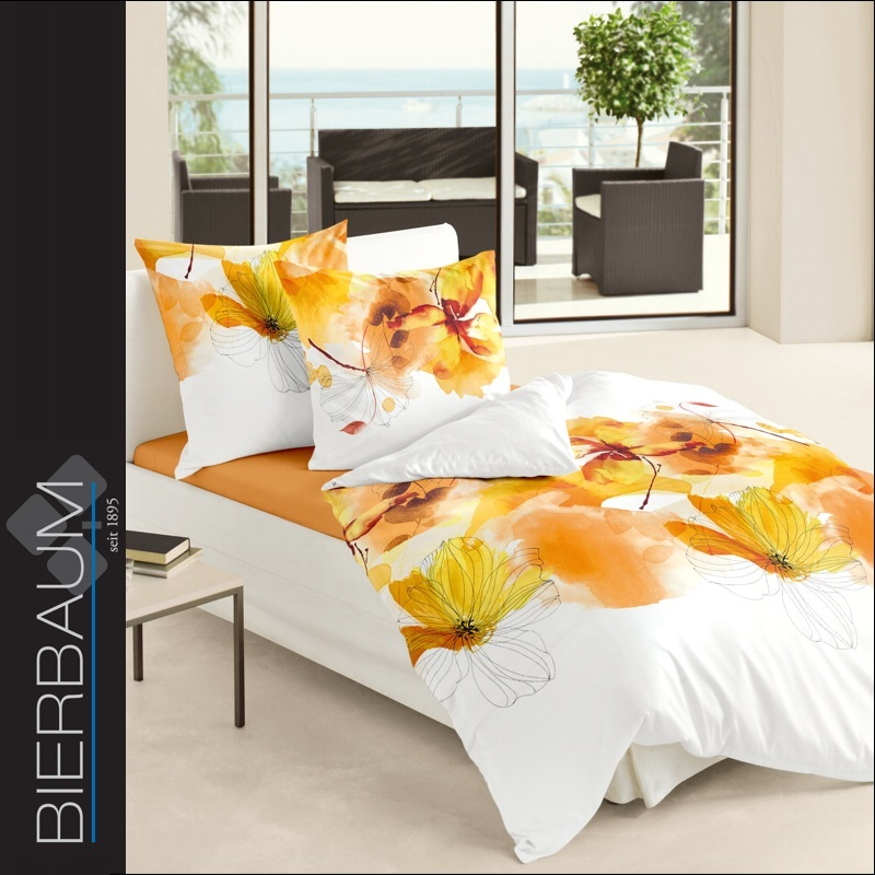 bierbaum mako satin bettw sche 200x200 cm dessin 63961 blumen wei orange gelb ebay. Black Bedroom Furniture Sets. Home Design Ideas