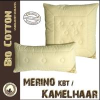 Merino Schurwoll Kissen aus kbT mit kbA Baumwoll - Bezug und Kamelhaar