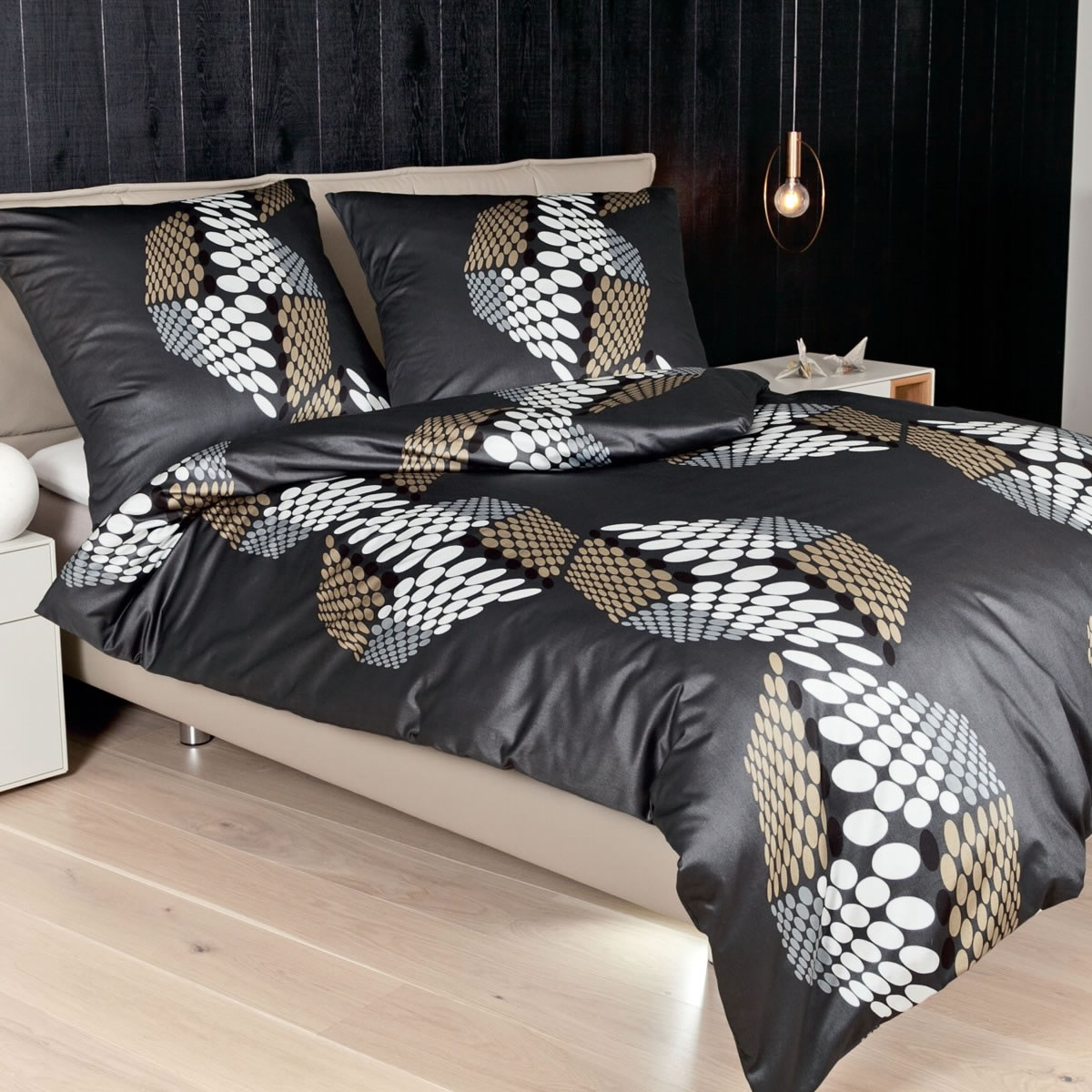 janine mako satin bettw sche messina design 4778 07 braun grau sand nougat ebay. Black Bedroom Furniture Sets. Home Design Ideas