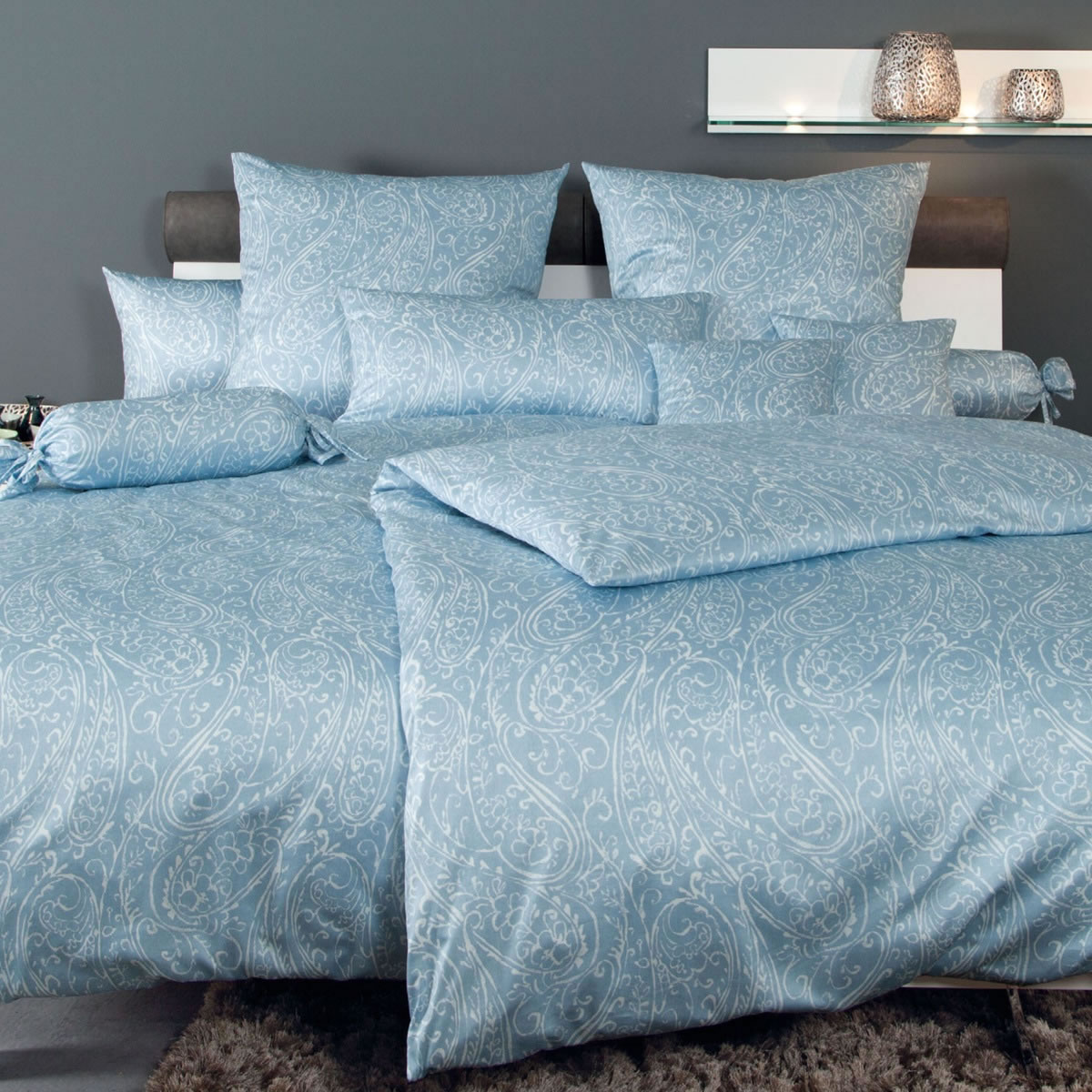 janine mako interlock jersey bettw sche carmen design 5507 02 paisley blau wei ebay. Black Bedroom Furniture Sets. Home Design Ideas