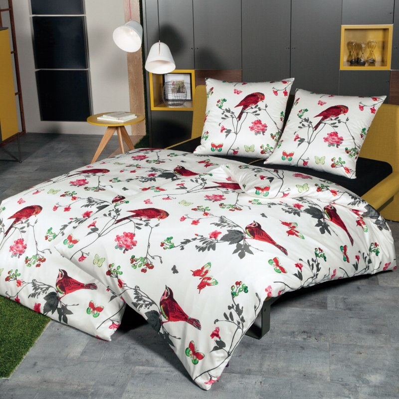 janine interlock jersey bettw sche carmen design 5431 09 ecru rot gr n vogel ebay. Black Bedroom Furniture Sets. Home Design Ideas