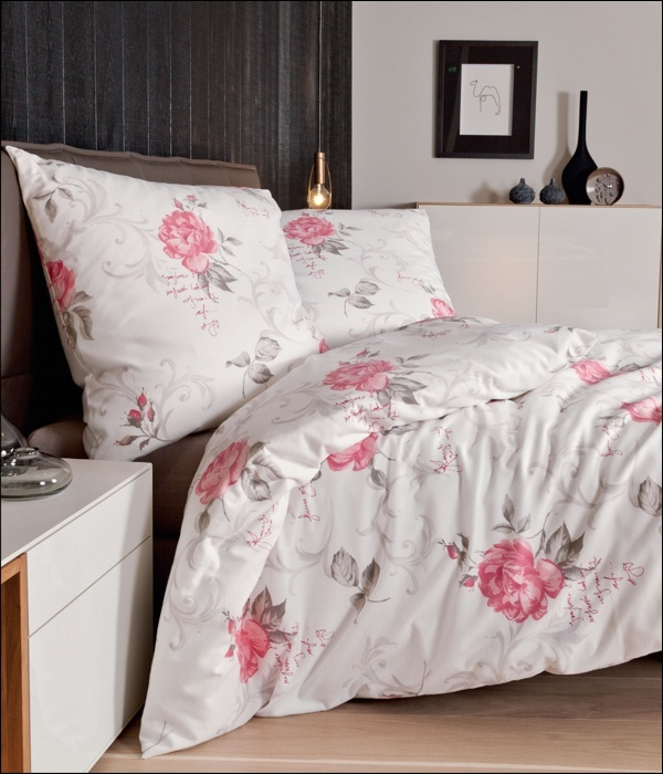 janine edel flanell bettw sche chinchilla design 7608 01 rosa taupe rosen wei ebay. Black Bedroom Furniture Sets. Home Design Ideas