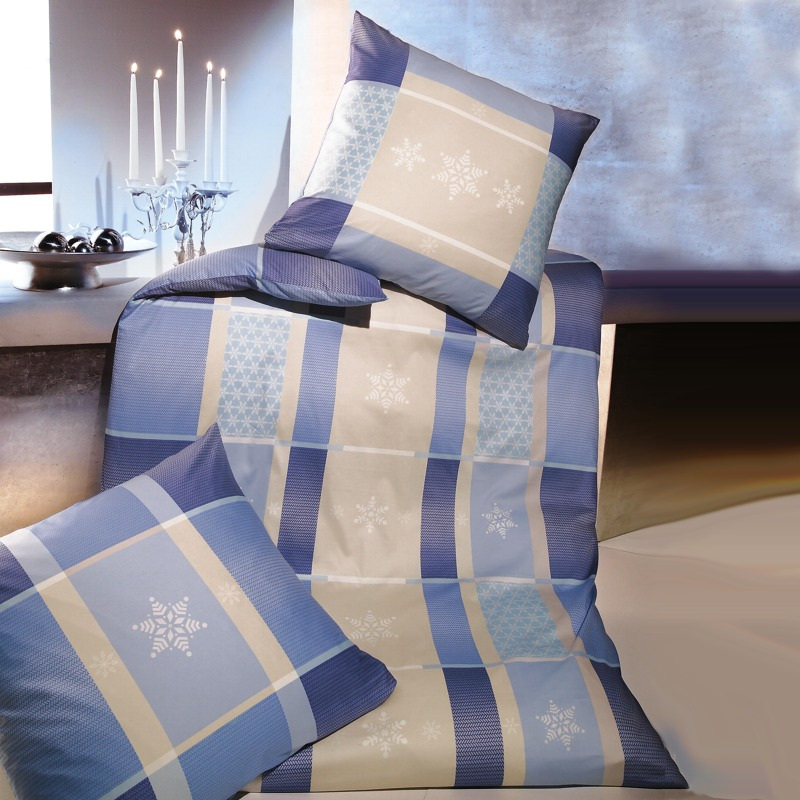kaeppel biber bettw sche 135x200 cm dessin snowflakes 04531 blau beige. Black Bedroom Furniture Sets. Home Design Ideas