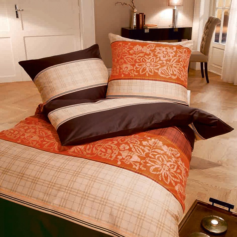 kaeppel biber bettw sche 135x200 cm dessin teatime 2106 braun orange nougat ebay. Black Bedroom Furniture Sets. Home Design Ideas