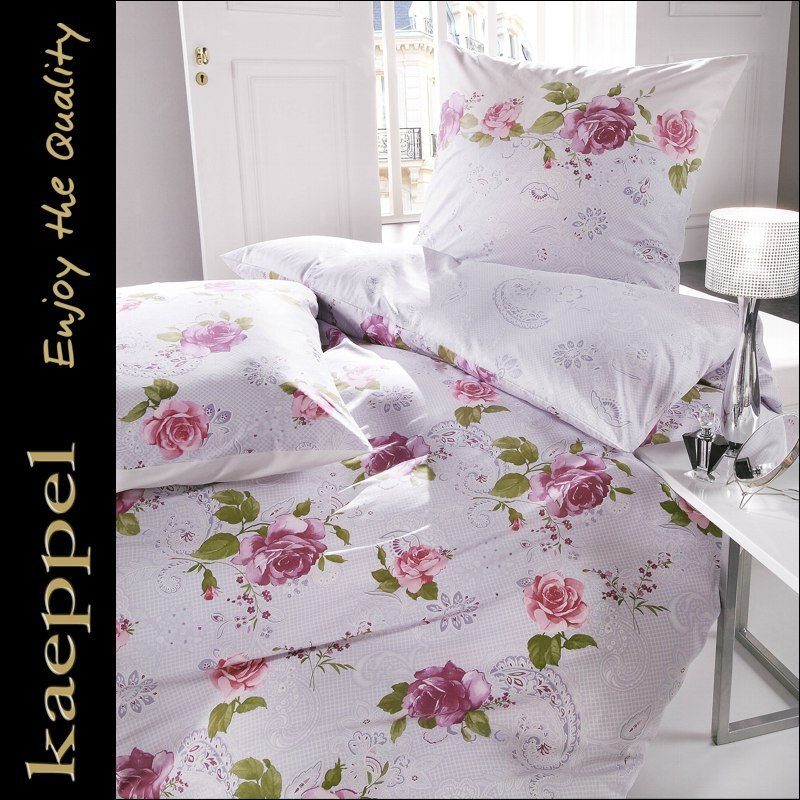 kaeppel mako satin bettw sche 155x220 cm dessin 25875 rosenstolz mauve wei ebay. Black Bedroom Furniture Sets. Home Design Ideas