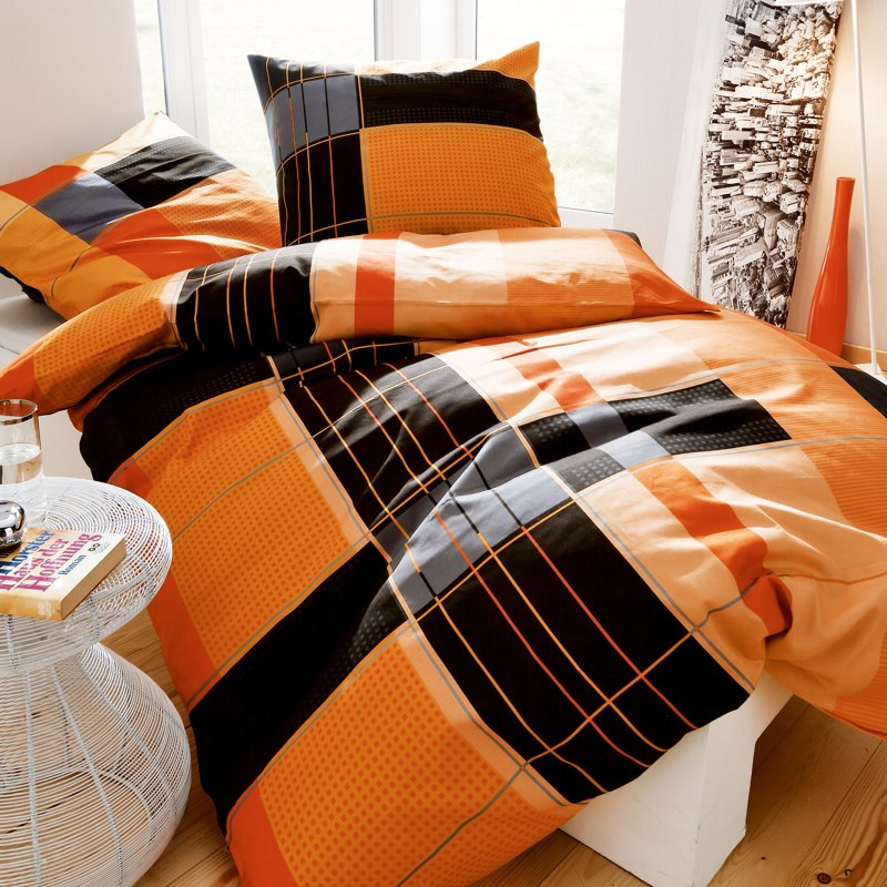 kaeppel biber bettw sche 135x200 cm dessin purist 3137 orange schwarz kariert ebay. Black Bedroom Furniture Sets. Home Design Ideas