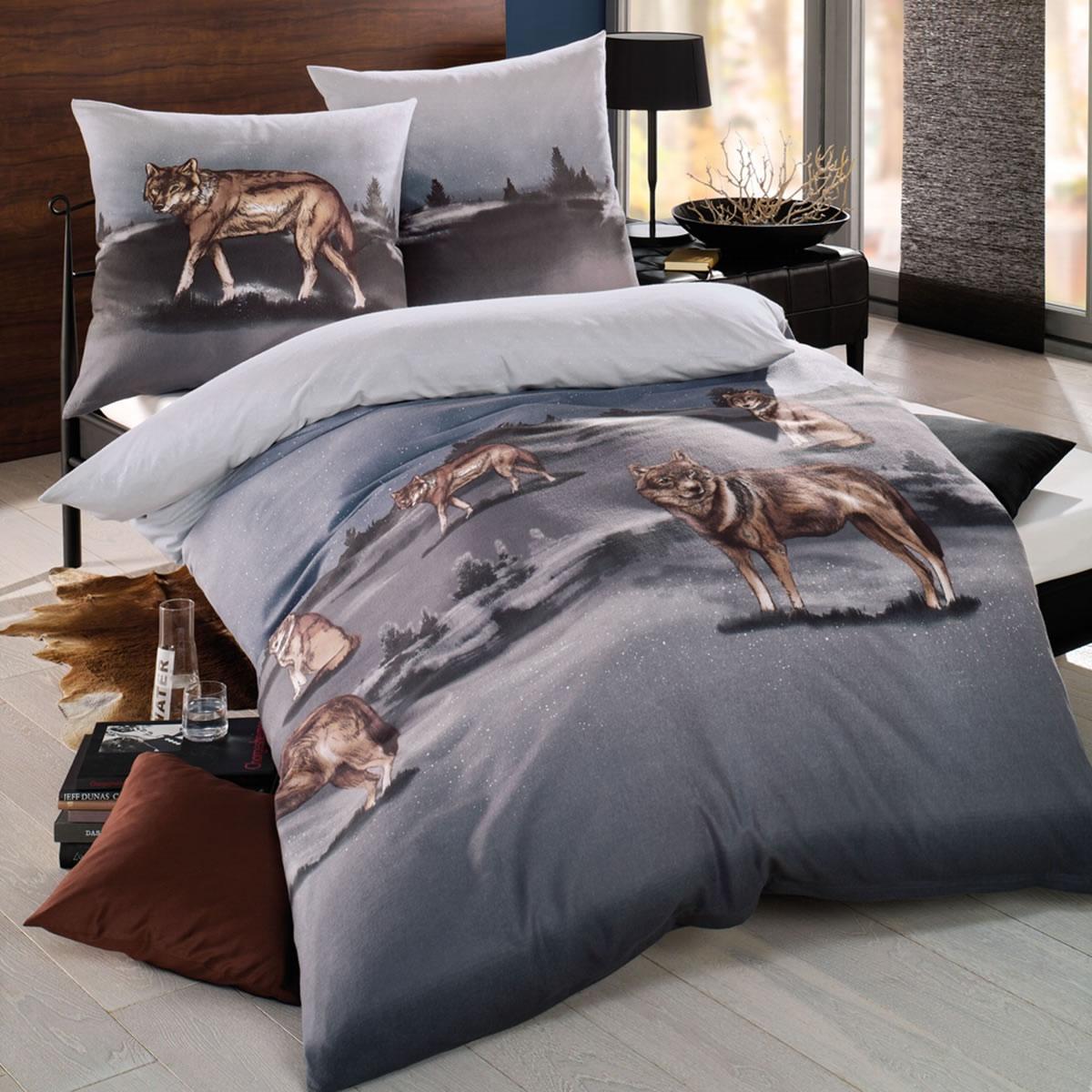 kaeppel biber bettw sche 155x220 cm design 39979 after dark wolf zinn. Black Bedroom Furniture Sets. Home Design Ideas