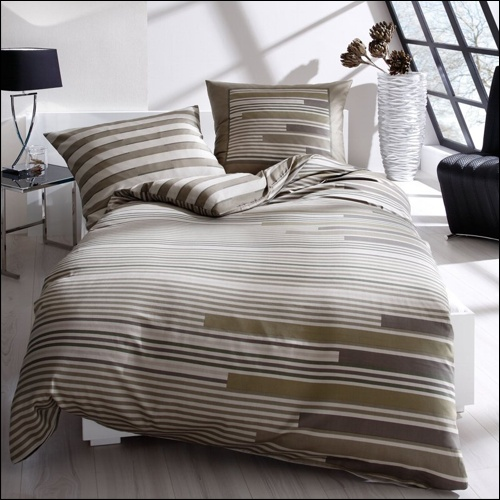 kaeppel mako satin bettw sche 135x200 cm design performance 41663 khaki leinen ebay. Black Bedroom Furniture Sets. Home Design Ideas