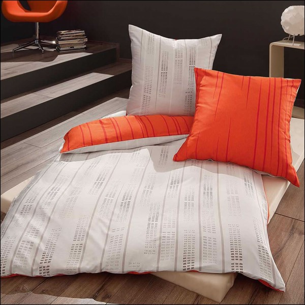 kaeppel mako satin bettw sche 135x200 cm fading 50639 orange grau gestreift modern kuschelzeit. Black Bedroom Furniture Sets. Home Design Ideas