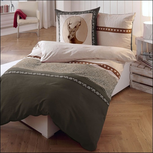 kaeppel biber bettw sche 135x200 cm design 5796 oh deer braun hirsch landhaus ebay. Black Bedroom Furniture Sets. Home Design Ideas