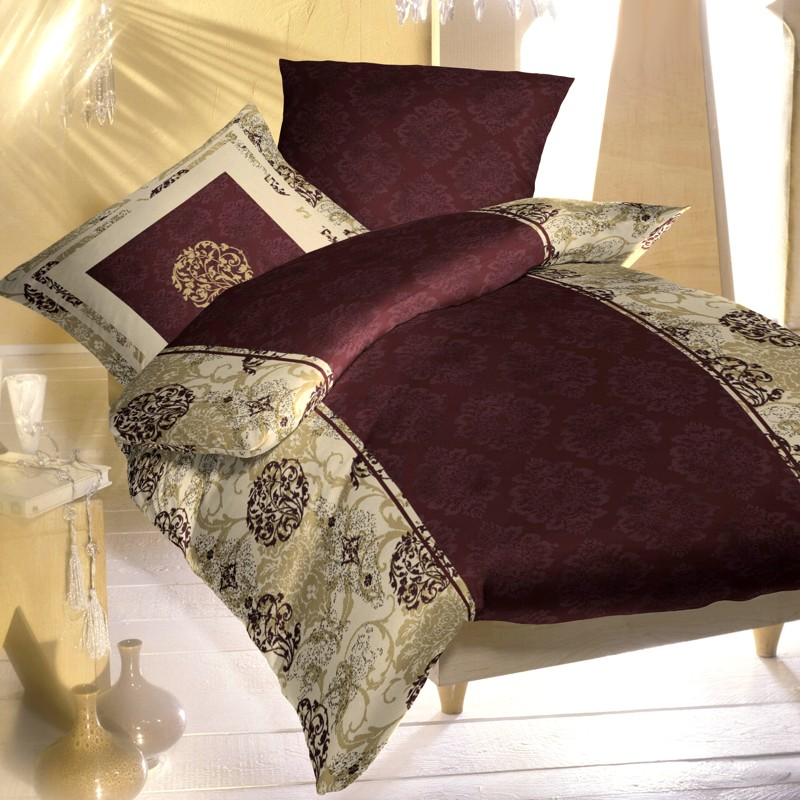 kaeppel biber bettw sche 200x200 dessin frenchstyle 66222 nougat bordeaux leinen ebay. Black Bedroom Furniture Sets. Home Design Ideas