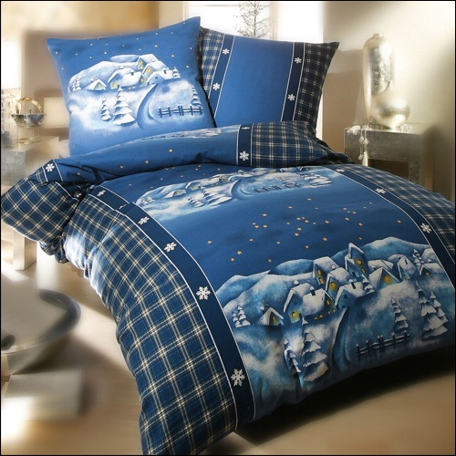 kaeppel biber bettw sche 200x220 cm 7981 dessin winterdreams blau. Black Bedroom Furniture Sets. Home Design Ideas