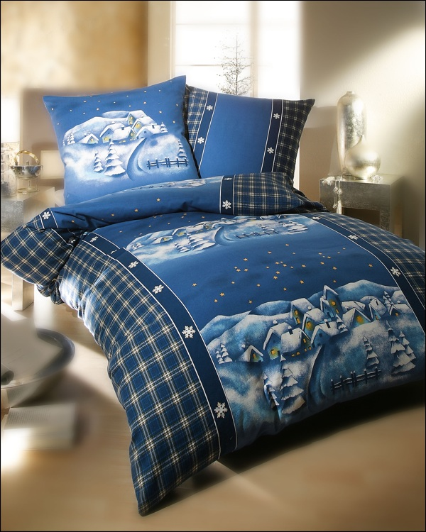 kaeppel biber bettw sche 200x220 cm 7981 design winterdreams blau. Black Bedroom Furniture Sets. Home Design Ideas