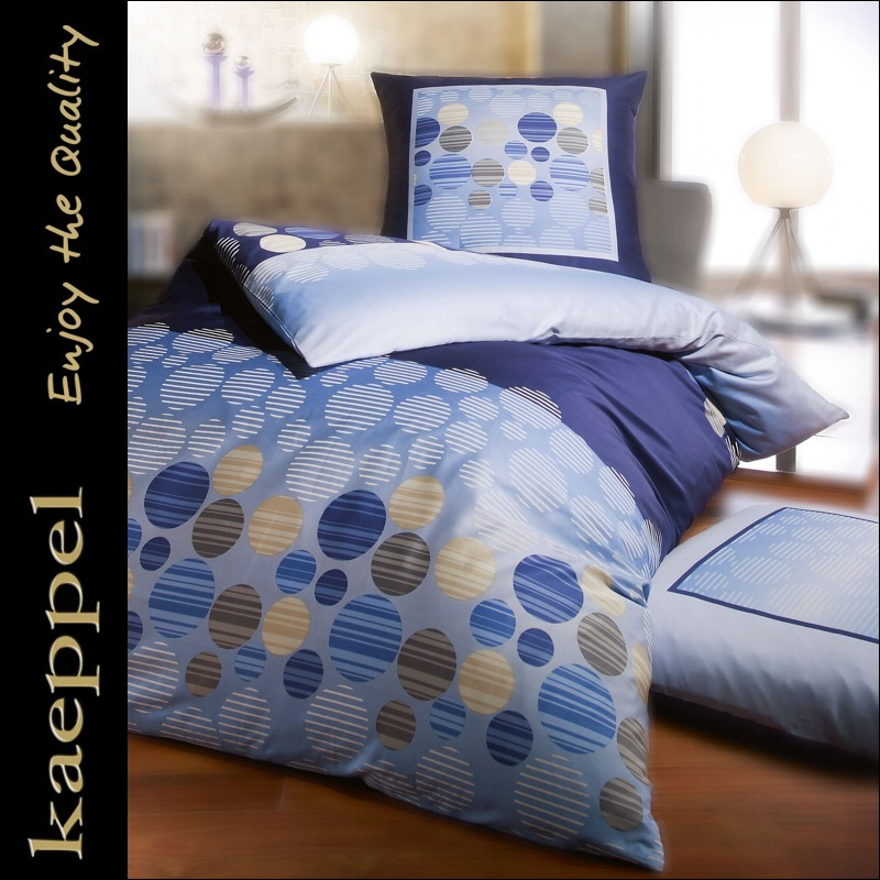 kaeppel mako satin bettw sche 135x200 cm 9311 dessin bubbles in blau baumwolle ebay. Black Bedroom Furniture Sets. Home Design Ideas