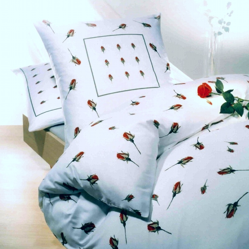 kaeppel biber bettw sche 200x200 cm dessin rosen knospen 9458 wei rot. Black Bedroom Furniture Sets. Home Design Ideas