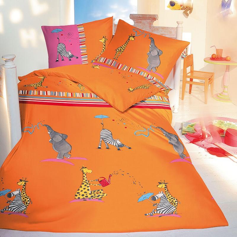 Kaeppel Kinderbettwäsche Linon 135x200 Bettwäsche 2837 Friends Orange