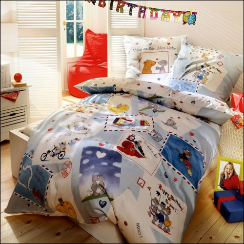 kaeppel biber kinderbettw sche 135x200 cm 38031 happy birthday. Black Bedroom Furniture Sets. Home Design Ideas